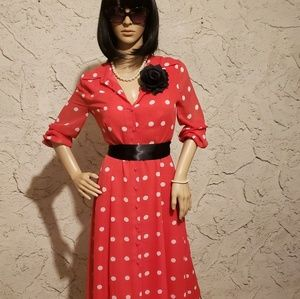 Dresses - 3 for $25 ❤ Minnie Mouse look polka dot red dress